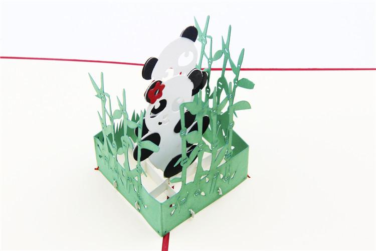 3d立体贺卡熊猫 生日中秋节节日感恩祝福明信片